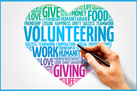 word cloud in the shape of a heart with volunteering at the center